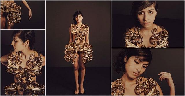 3D Activation Druck Kleid getragen von Pia Hinze